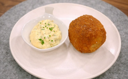 Pippa's scotch egg with tartar sauce on Britain's Best Home Cook