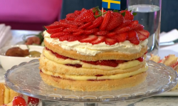 Bronte Aurell's Swedish strawberry layer cake  on Sunday Brunch