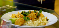 Dr Alison Barnes' vegetable curry with chickpeas, cauliflower and spinach, served with Bul ...