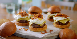Nadiya Hussain beef burgers with turkey bacon jam and runny egg on  Nadiya's Family Favourites