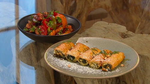 Hus Vedat's spinach, pine nuts and feta cheese borek rolls with tomato, pomegranate molass ...