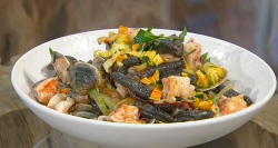Jane Baxter Black cavatelli with clams, prawns and courgettes on Saturday Kitchen