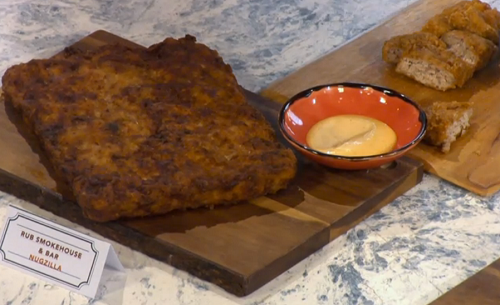 Rebecca Seal's nugzilla chicken nuggets with white BBQ sauce on Sunday Brunch