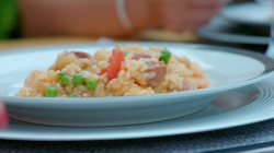 Jon and Lisa Dye homemade paella on Eat Well for Less?