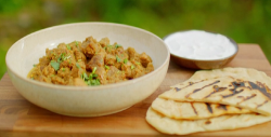 Nadiya Hussain speedy Welsh lamb bhuna with buttered naan and natural yoghurt on Saturday Kitchen