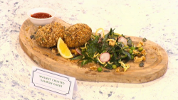 Adria Wu walnut crusted salmon cakes on Sunday Brunch
