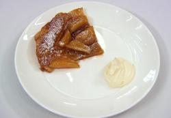 Josh Cuthbert apple tarte tatin with whipped cream on Celebrity Masterchef 2018