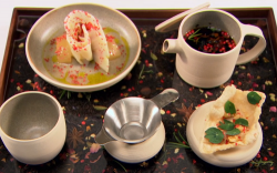 Dan Fletcher's Can I Get You A Cup Of Tea, Luv? starter on Great British Menu