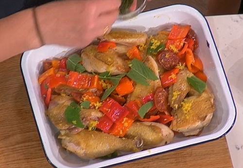 Angela Hartnett's chicken and chorizo with courgettes on This Morning