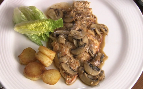 Rick Stein chicken with Marsala, mushrooms, salad and potatoes on Saturday Kitchen