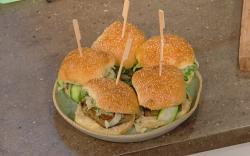 Ben Tish Sicilian chickpeas pancakes in a burger bun on Saturday Kitchen