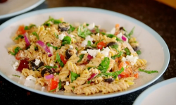 Dale Pinnock brown pasta salad on Eat, Shop, Save