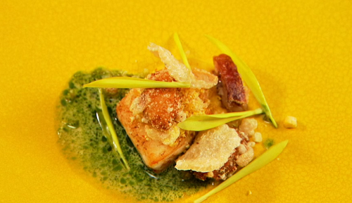 David's pig trotters with cod and mussels dish on Great British Menu