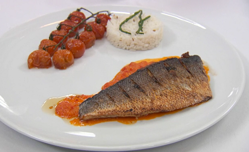 AJ's sea bass with cumin rice and a vermouth and pepper sauce on Celebrity Masterchef 2018
