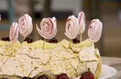 Manon's amarene and kirsch cherry roulade on the Great British Bake Off