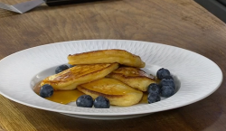 James Martin American style pancakes with buttermilk, blueberries and maple syrup on James Marti ...