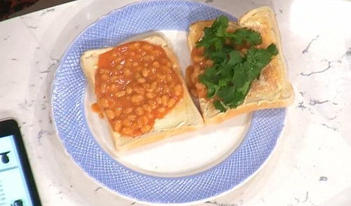 Phil Vickery beans on toast with coriander for a student survival guide on This Morning