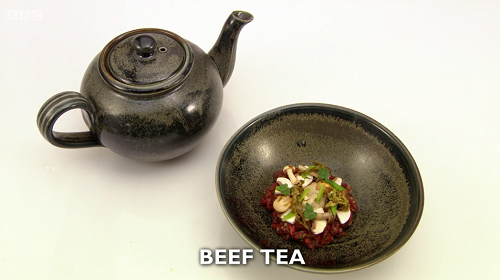 Tom Brown beef tea with seaweed starter on Great British Menu