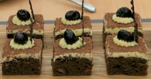 Dan's black forest slice traybake on The Great British Bakeoff 2018