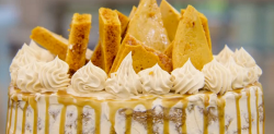 Rahul's bonfire night caramel ginger cake on the Great British Bake Off 2018