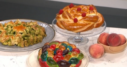 Allegra Feltz braid your bread making rainbow  Jewish halal bread on This Morning