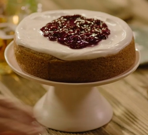 Nigella Lawson lemon bundt cake with blueberry compote and coconut milk yoghurt on Saturday Kitchen