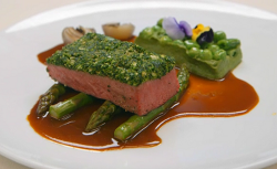 Spencer Matthews cannon of lamb with pea puree, asparagus and a lamb sauce main course on Celebr ...
