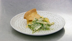 John Partridge's cheddar cheese, potato and onion pie with coleslaw on Celebrity Masterche ...