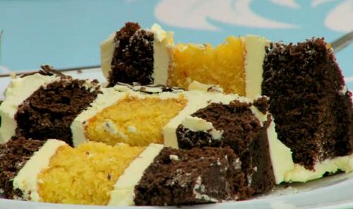 Rahul's chocolate and orange layer cake on the Grate British bake Off 2018