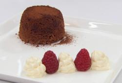 Stefanie Reid chocolate mocha fondant with vanilla whipped cream and strawberries on Celebrity M ...