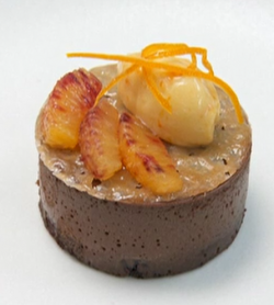 Bryn Williams chocolate parve with chocolate sponge, chocolate mousse and blood orange curd dess ...