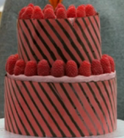 Dan's dark chocolate and raspberry birthday cake on the Great British Bake Off 2018