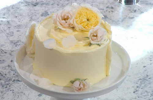 Claire Ptak Amalfi lemon cake with elderflower on Sunday Brunch