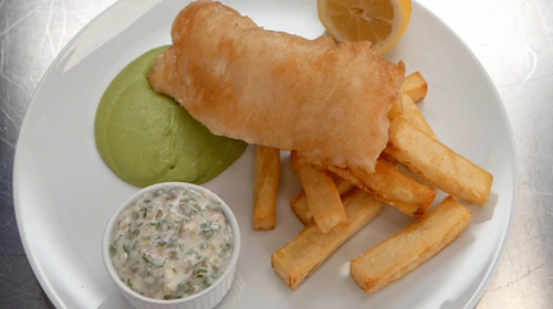 John Torode beer battered fish and chips with pea puree and tartare sauce on Celebrity Masterche ...