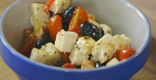 Mary Berry Greek salad with olives and feta cheese on Saturday kitchen