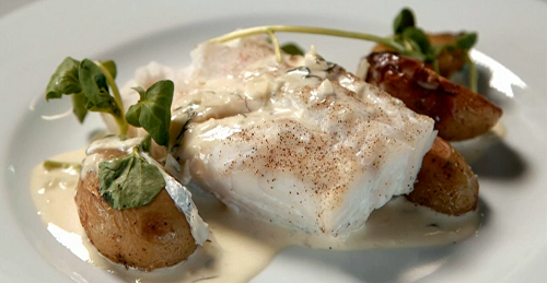 AJ and Lisa's baked hake with potatoes and dill sauce on Celebrity Masterchef 2018