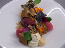 Paul Askew's honey and ale sponge with blackberry sorbet dessert made by Spencer Matthews  ...