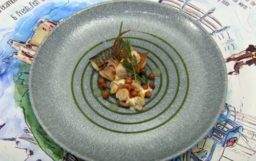 Craig Sherrington's In For The Long trawl with mackerel, cockles and peas  fish course on  ...