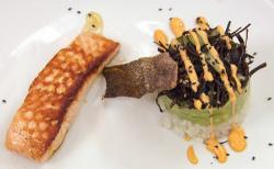 Japanese salmon with open Californian sushi stack on Celebrity masterchef 2018