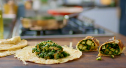 Nadiya Hussain kati rolls with spinach and paneer cheese on Nadiya's Family Favourites