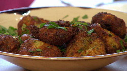 Rebecca Seal's Greek Kolokythokeftedes with courgettes on Sunday Brunch