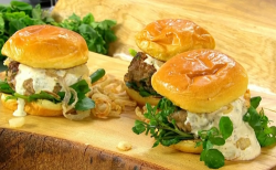 James Martin lamb burgers with chipotle mayonnaise and crispy onions on James Martin's Sat ...