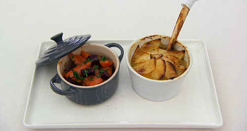 John Partridge lamb and potato Lancashire hotpot with buttered carrots and pickled beetroot on C ...