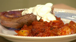 Simon Rimmer lamb steak with nduja and rosemary spuds on Sunday Brunch
