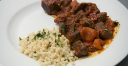 Stella Parton and  Jay Blades lamb tagine with  couscous on Celebrity Masterchef 2018