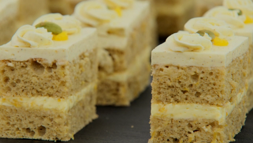 Rahul's lemon and cardamom traybake on the Great British bake Off 2018