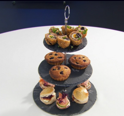 Martin's afternoon tea with frangipane tart on Celebrity Masterchef 2018