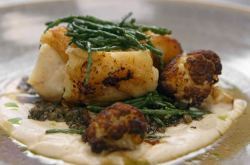 Martin Bayfield's monkfish with cauliflower dish on Celebrity Masterchef 2018