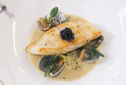 Paul Askew's turbot with clams and cockles starter cooked by John Partridge on Celebrity Masterc ...