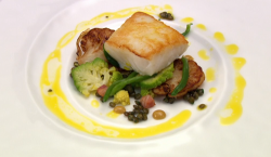 Liam Simpson-Trotman one a day cod with lentils fish course on Great British Menu
